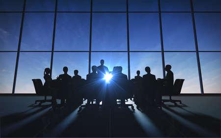 コンピューター グラフィックで表示される office シルエットで管理チーム