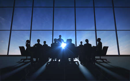 Management Team in office silhouette rendered by computer graphic  photo