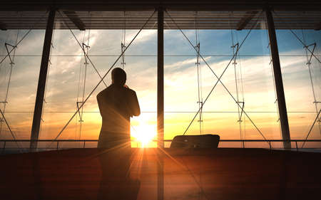 businessman thought in office sunset silhouette rendered by computer graphic