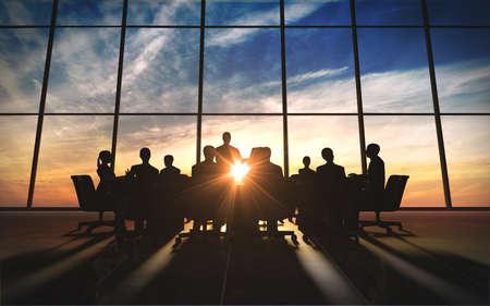 reunion de trabajo: Equipo de Gesti�n en la silueta oficina prestada por computadora, gr�fico Foto de archivo