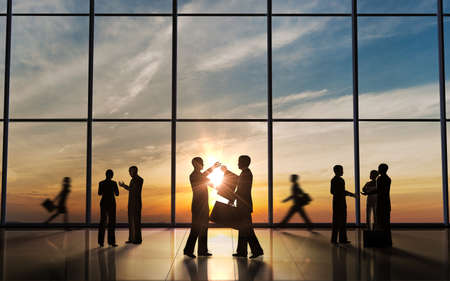 Business Meeting silhouettes rendered with computer graphic  Stock Photo