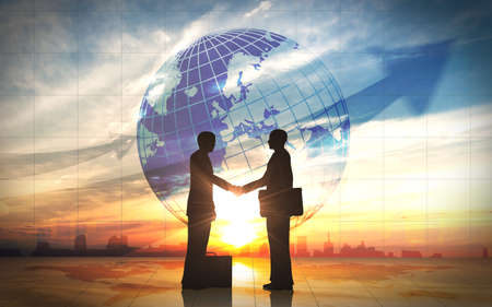 Two business man shake hand silhouettes city with global rendered with computer graphic  Stock Photo