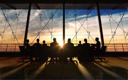 sunrise: Das Management-Team im Amt Silhouette von Computer-Grafik gemacht