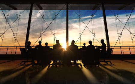 with sunrise: Management Team in office silhouette rendered by computer graphic  Stock Photo