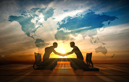 world cultures: Two Asian Businessmen handshake in meeting room rendered by computer graphic 3d