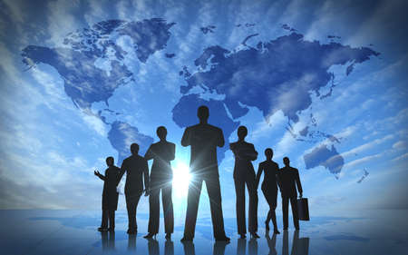 Global team business people silhouettes rendered with computer graphic  Stock Photo