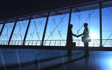 Deux silhouettes de main de secousse d'affaires rendus avec le graphique de l'ordinateur Banque d'images - 24254058
