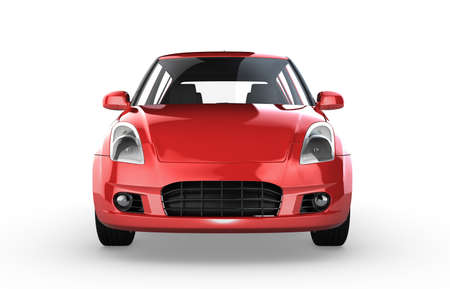 3D Rendering Red car isolated on white photo
