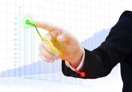international banking: businessman touch with financial strategy concept Stock Photo