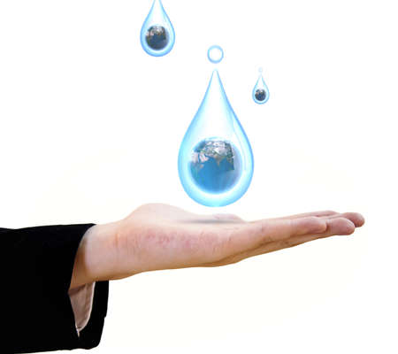 businessman showing the water drop with the planet earth photo
