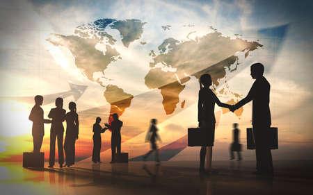 グローバル チームのビジネスを振る手と会議のシルエット