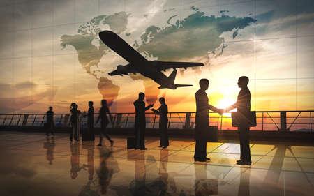 グローバルのチーム ビジネスを振る手および飛行機のシルエットとの会談