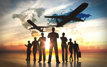 Global Business people team with airplane silhouettes Stock Photo