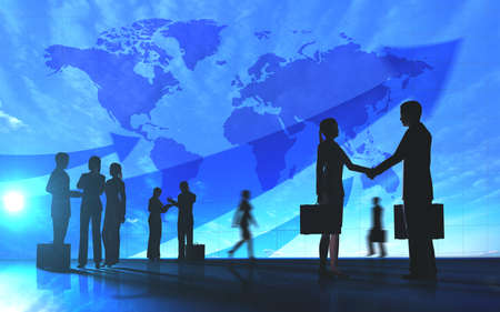 Global Team Business shake hand and meeting silhouettes Stock Photo