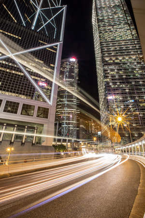 City at night in hongkong Stock Photo