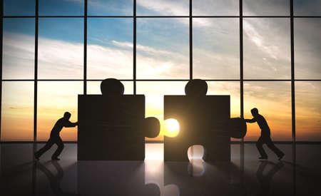 travail d équipe: le travail d'équipe d'affaires des pièces de puzzle