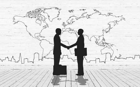 Two business man shake hand silhouettes city with world maps stroke Stock Photo