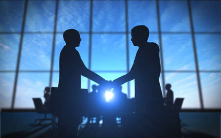 Two business shake hand in office silhouettes