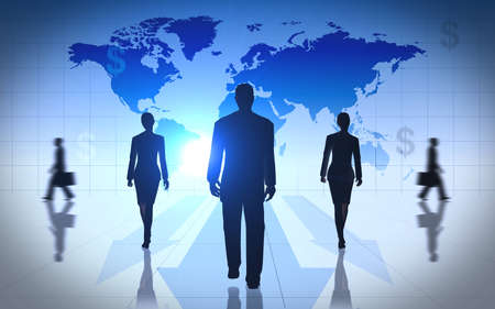Global Business people team silhouettes