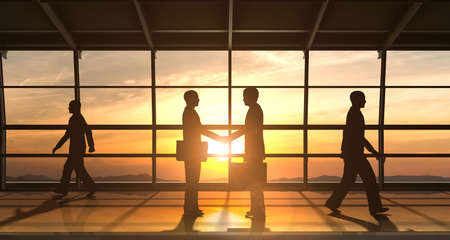 The Business shake hand and meeting silhouettes