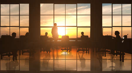 Management Team in office silhouette