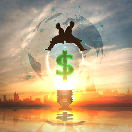 Business man with Light bulb with Dollar symbol Stock Photo