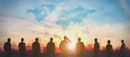 World Business people team silhouettes 3d rendering Stock Photo