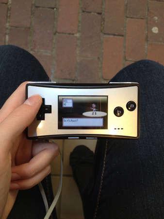 nintendo: A girl plays a popular Nintendo game Stock Photo