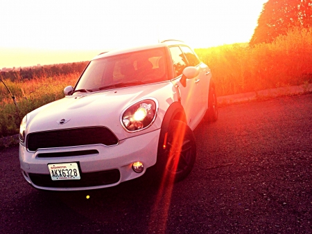 cooper: The Mini Cooper during sunset.  Stock Photo