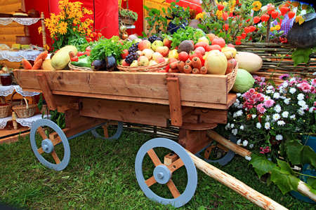 sell out: vegetables in cart on fair Stock Photo