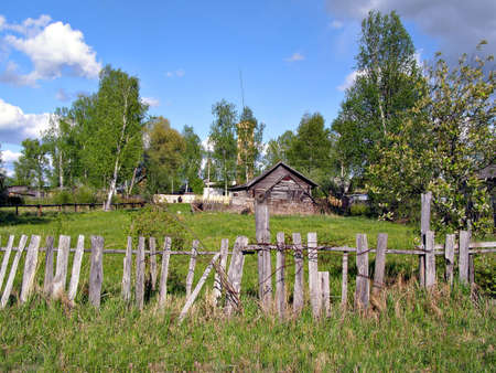 old wooden fence in village     photo