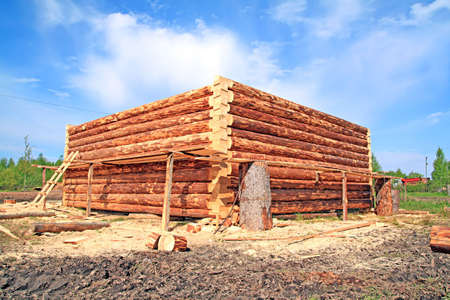 construction of the wooden building photo