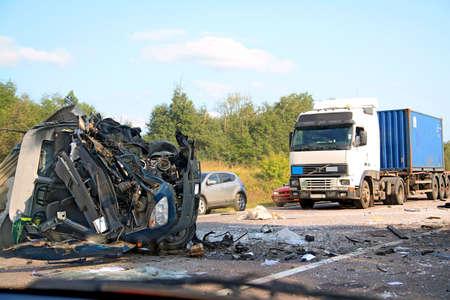 accidente transito: da�os de la carretera Foto de archivo
