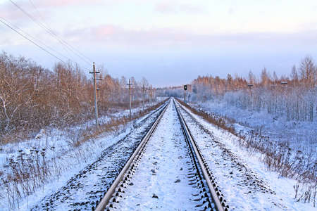 made russia: railway in winter