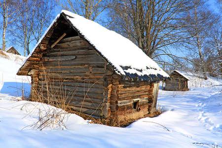 cottage fence: old house in village