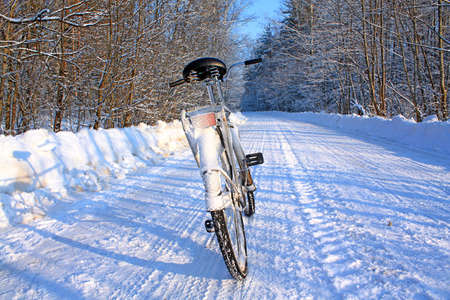 traveled: bicycle on winter road