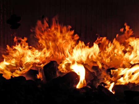 fuoco nella stufa  Archivio Fotografico