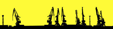 silhouette shipyard isolated on yellow background