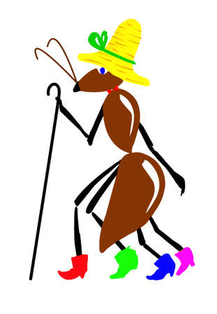 stick insect: drawing ant on white background