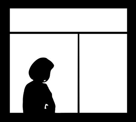 silhouette of the woman against window isolated on white background Stock Vector - 6240515