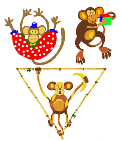 illustration of the apes in circus Vector