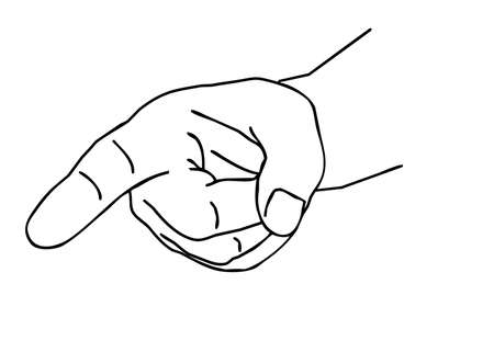 outline of the hand on white background Vector