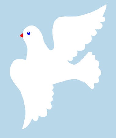 illustration of the dove on  blue background Vector