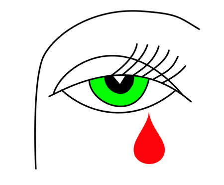 eye drops:   illustration of the green eye of the witch