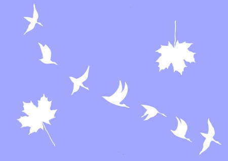 silhouettes of the cranes and maple leafs on blue background Stock Vector - 6240591