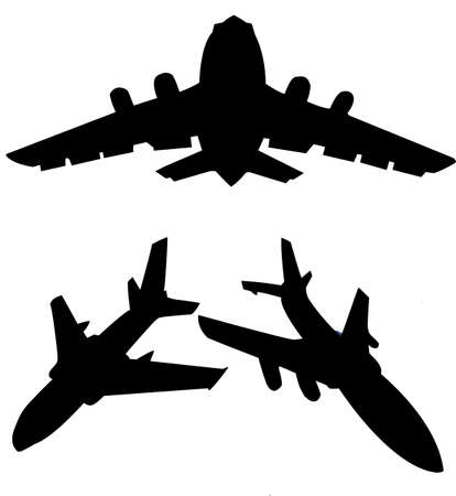 silhouette plane isolated on white background Vector