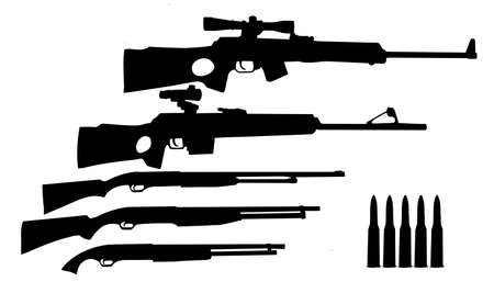 silhouette hunt weapons isolated on white background Stock Vector - 6240597