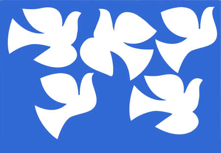 illustration dove isolated on  blue background Vector