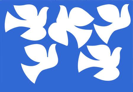 wedding church:   illustration dove isolated on  blue background