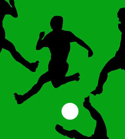 illustration game of football on green field Vector